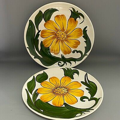 PAIR Vintage Retro Bright SUNFLOWER Wade England Royal Victoria Pottery Plate • 15£