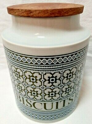 Hornsea Pottery Tapestry Pattern Biscuit Barrel, Jar With Original Hardwood Top • 21£