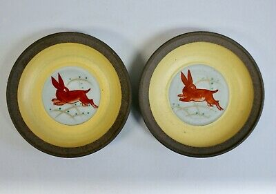 2 X Signed Contemporary Japanese Stoneware Hand Painted Dishes, Hare Design 11cm • 24£