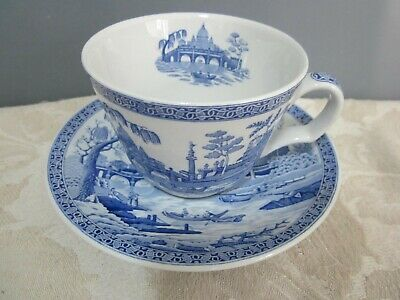The Spode Blue Room Collection Rome Blue & White Tea Cup & Saucer • 9.50£