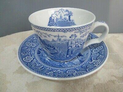 Spode Blue Room Collection Woodman Blue & White Tea Cup & Saucer • 8.99£