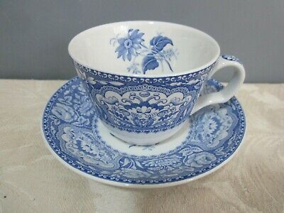 Spode Blue Room Collection Floral Blue & White Tea Cup & Saucer • 8.99£