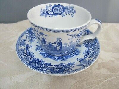 Spode Blue Room Collection Girl At Well Blue & White Tea Cup & Saucer • 8.99£
