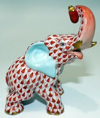HEREND HUNGRY SIGNED RUST FISHNET TRUNK UP ELEPHANT 3.5  Tall • 109.27£