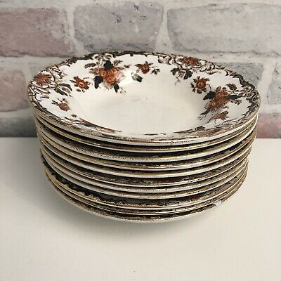 Set Of 11 Beautiful Vintage Bowls With Red & Gold Floral Design • 23.99£