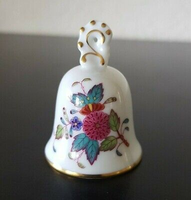HEREND Guild Hungary PORCELAIN MINI BELL ORNAMENT Nanking Bouquet 1998 Handpaint • 17.81£