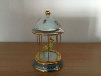 Limoges - France - Bird In A Cage Ornament - Blue With Gold Design And Trim • 20£