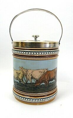 Antique Villeroy & Boch Mettlach Biscuit Barrel - Cows • 55£