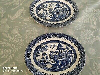 Churchill Willow Blue And White 12  Oval Plate / Platter X 2 • 12.50£