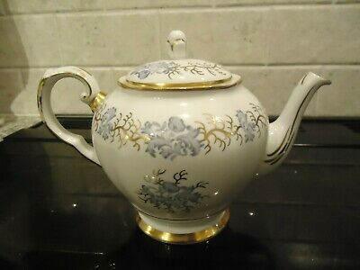 Vintage Blue And Gold Floral Decorated Tuscan Bone China Teapot,circa 1947+ • 5.50£