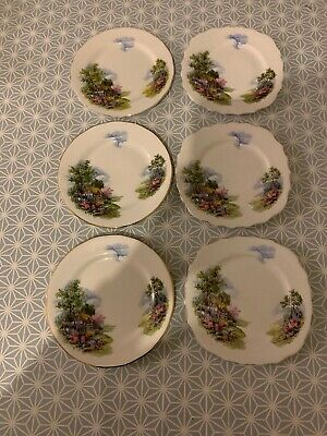 Royal Vale Bone China 6 Side Plates Thatched Cottage Garden • 4.40£