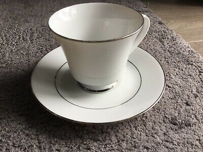 Legendary Noritake Regency Silver China Cup & Saucer. Perfect. • 2£