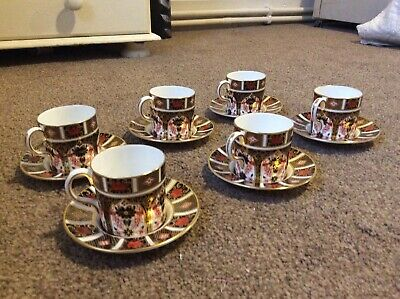 Royal Crown Derby Imari Pattern 6 Coffee Cups & Saucers • 126£