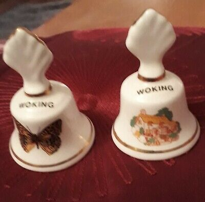 Pair Of Pretty Staffordshire China Souvenirs Of Woking Miniature Bell Ornaments • 1.50£