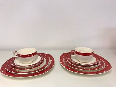 Jessie Tait Midwinter Stylecraft Red Domino Tea Cups,saucers And Plates 10 Items • 19.99£