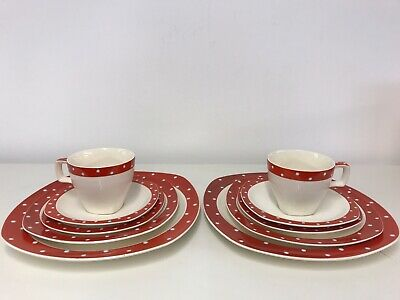Jessie Tait Midwinter Stylecraft Red Domino Coffee Cups,saucers And Plates 10 • 19.99£