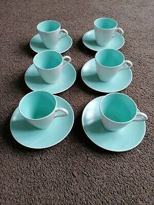 Poole Pottery Twintone Ice Green 6 Cups And Saucers • 4£