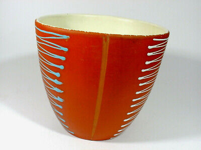 TALL 1950s MODERNIST CERAMIC PLANTER WEST GERMAN POTTERY HANDPAINTED VINTAGE • 14.95£