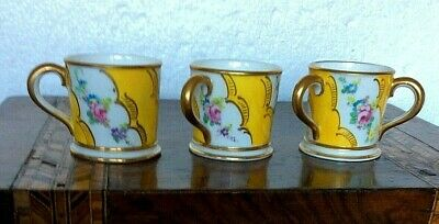 Royal Crown Derby Miniature Trio V9190 Gilded Yellow Floral 4cms Tall 1891-1921 • 17.99£