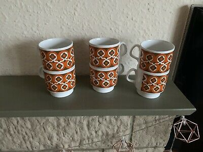 6 Retro 1970's Cups By Staffordshire Pottery • 3£