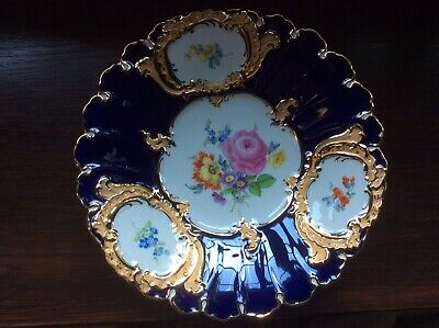 9  MEISSEN CABINET PLATE-  in Cobalt Blue And Gold & Flowers 20th Century • 200£