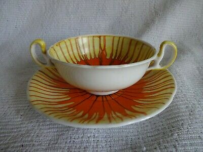 SHELLEY DRIPWARE Orange Double Handled Soup Bowl And Saucer • 7.99£