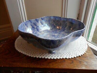 Oval Pearlescent Blue And White Bowl  • 15£