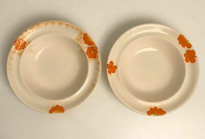 Pair Of VTG Swinnertons Pottery Ivory England Shallow Bowls With Orange Flowers • 7.99£