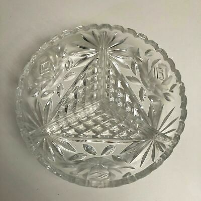 Vintage Crystal Cut Glass Shallow Bowl With Triangular Design And Scalloped Edge • 9.99£