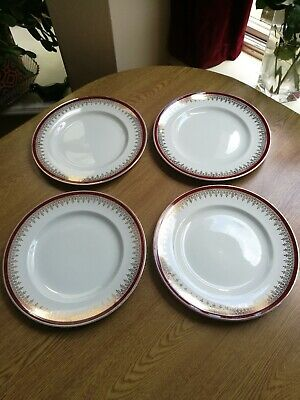 Alfred Meakin Glo White Royalty England 4 X Dinner Plates 10  Red Gold Ironstone • 15£