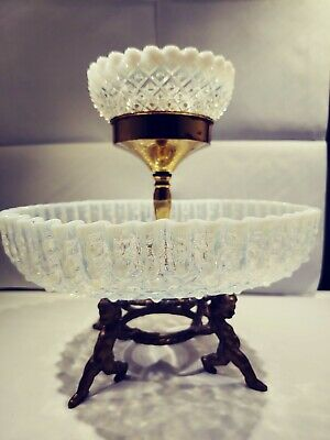 Henry Turim Opalescent Fenton Hobnail Centerpiece Bowl Candle Holder Angels... • 137.13£