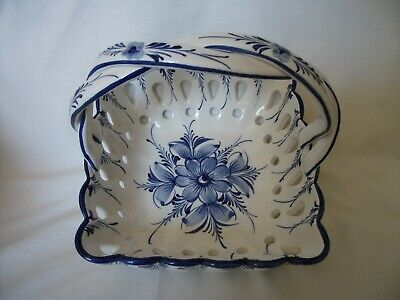 Attractive Pottery Fruit Basket With Intertwined Handle – Ref  2128 • 8.25£
