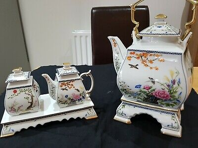 Franklin Mint Oriental Birds Teapot & Stand And Sugar & Milk And Stand • 48£