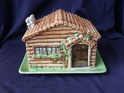 Vintage Beswick Ware Log Cabin Cheese Dish Plate And Cover Model No 252 • 6£