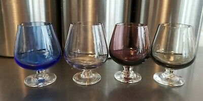 Vintage Miniature Art Glass Brandy Snifter Glasses 4 Blue Smoked Clear & Purple • 15£