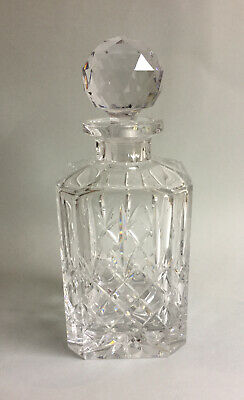 Square Cut Lead Crystal Glass Spirit Decanter - Excellent Condition • 44.95£
