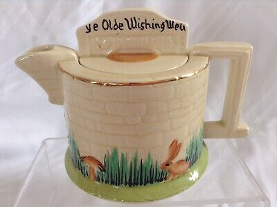 Rare Old Beautiful Hand Painted Ye Olde Wishing Well Teapot Good Condition  • 21£