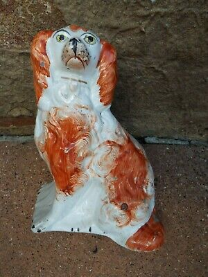 Antique Staffordshire  Rusty Red King Charles Spaniel  Dog Single • 15£