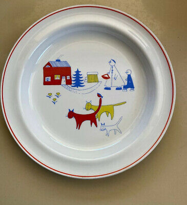 """Arabia Children's Plate With Cats Children Home Made In Finland 7.75"""" • 21.42£"""