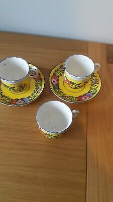 Antique French Faience Ware 3 Cups 2 Saucers Yellow With Birds • 14.99£