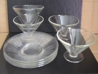4 ART DECO Clear Glass Sundae Dishes / Bowls + Matching Saucers  • 15£