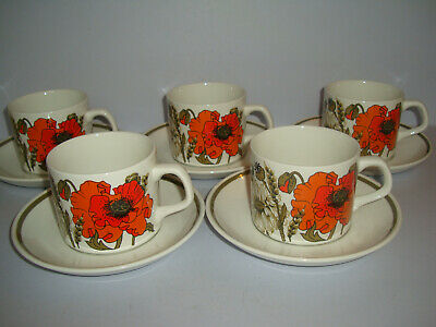 J&G J & G Meakin - Poppy - Tea Cups And Saucers X 5 • 12£
