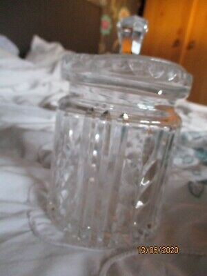 Cut Glass Crystal Glass Jar With Lid 8 Inches Tall X 4.5 Inches Wide • 0.79£