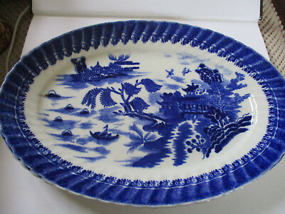 Alcock Flow Blue Oval Serving Platter Willow Pattern • 24£