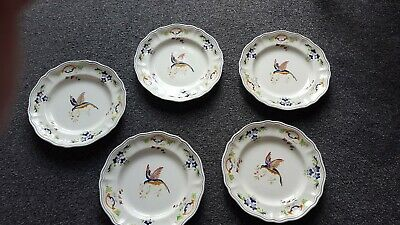 Vintage French Faience  Clery Longchamp 5 Hand Painted Exotic Bird Dinner Plates • 100£