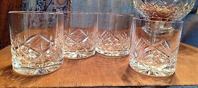 Set Of 4 Crystal/Cut Glass Whiskey Glasses, Art Deco Design, Un-marked • 8£
