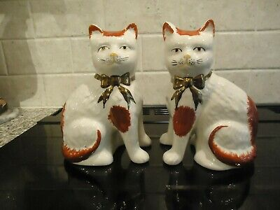 Pair Of Reproduction Staffordshire Red And White Sitting Cats,20 Cms High • 11£