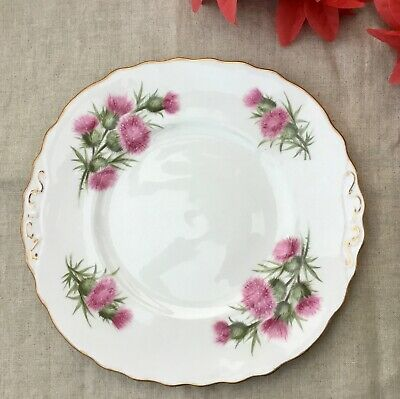COLCLOUGH 1950s PINK THISTLE CAKE SERVING PLATE - GILDED BONE CHINA • 15£