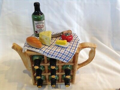 Rare Teapottery Swineside Collectable Novelty Large French Picnic Wine Teapot • 24£