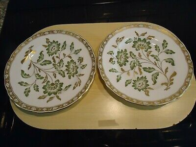Two Royal Crown Derby China Plates  Green Derby Panel  Pattern,21.5 Cms Diameter • 12£